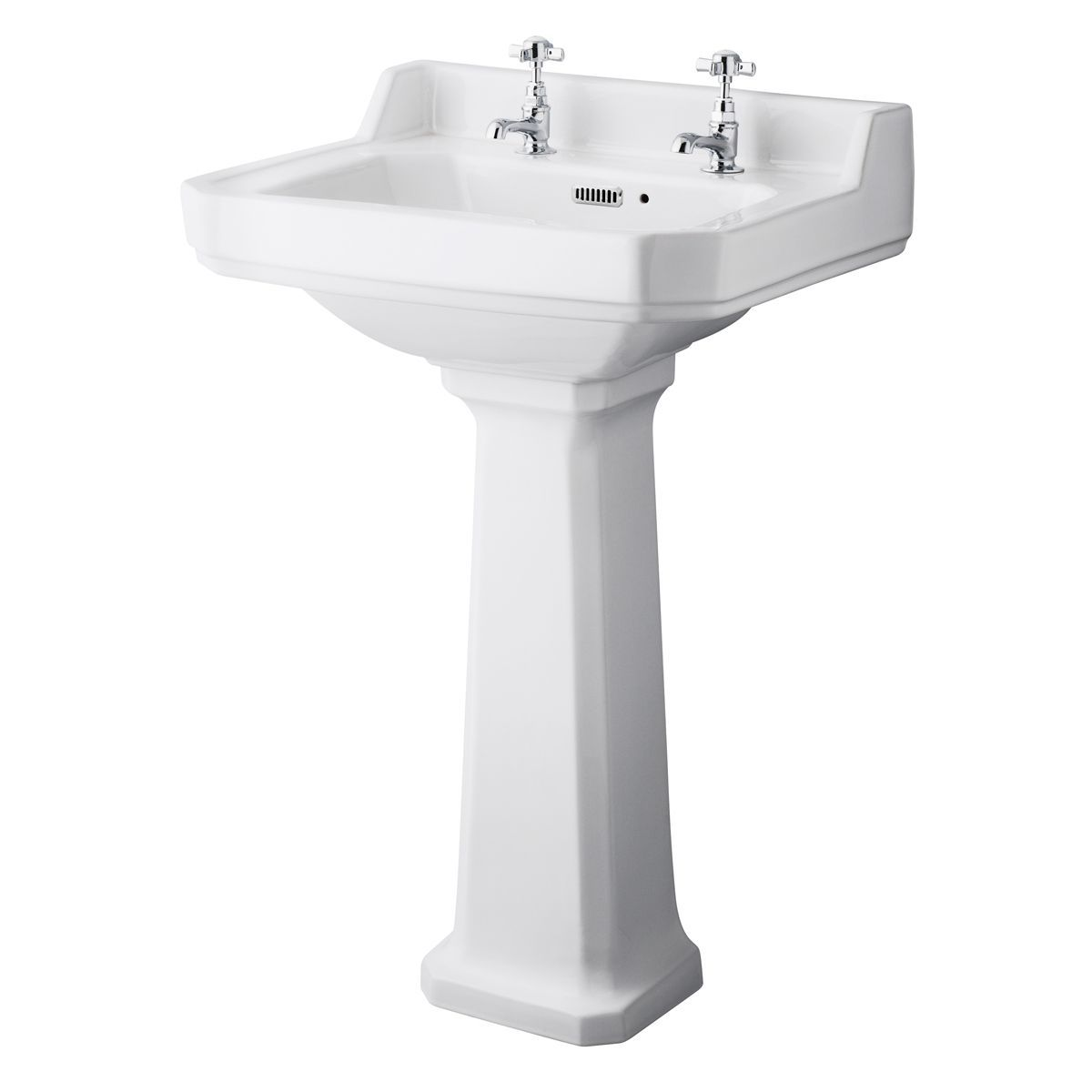 Hudson Reed Richmond 2 Tap Hole Basin with Full Pedestal 560mm
