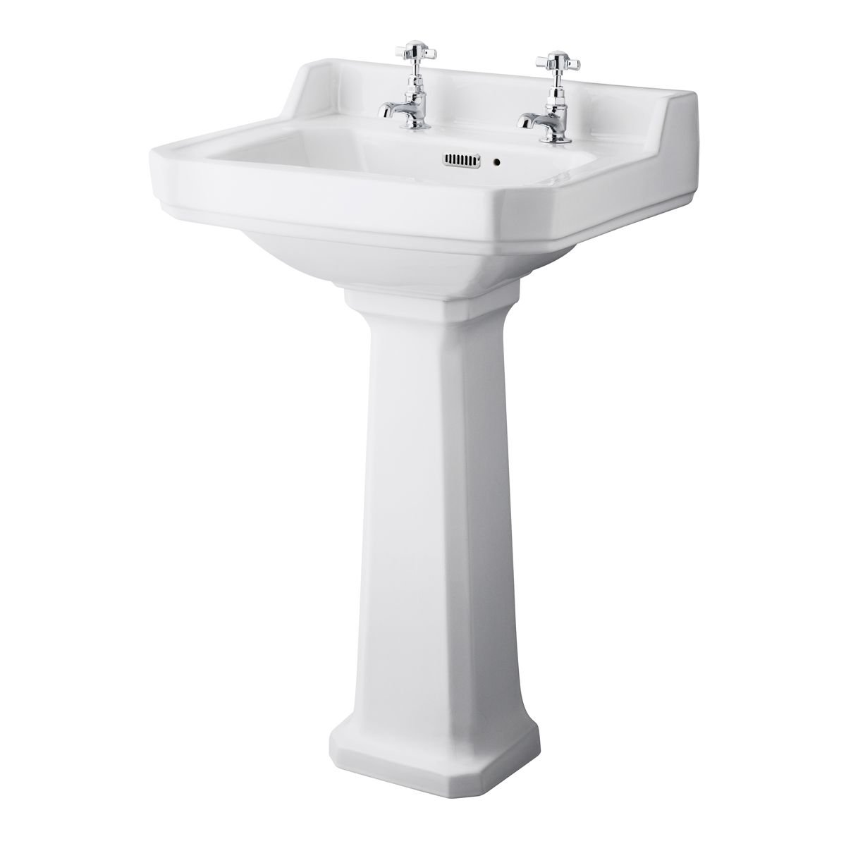 Hudson Reed 2 Tap Hole Basin with Full Pedestal