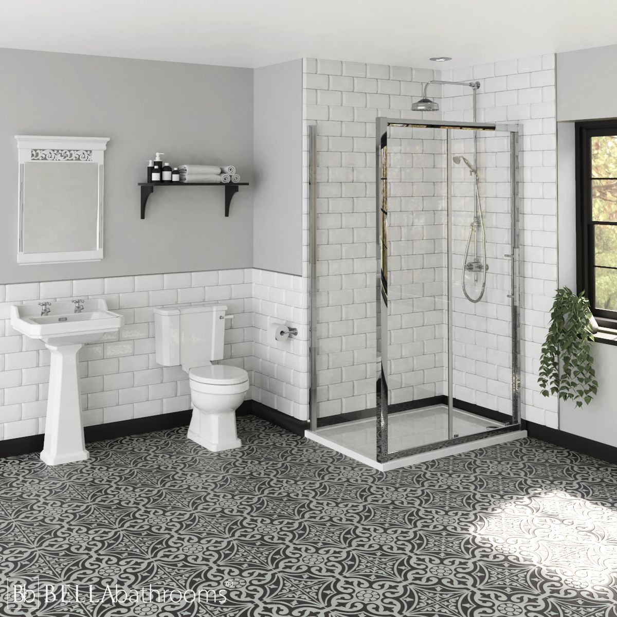 Hudson Reed Richmond Traditional Ensuite with Apex Slider Shower Enclosure