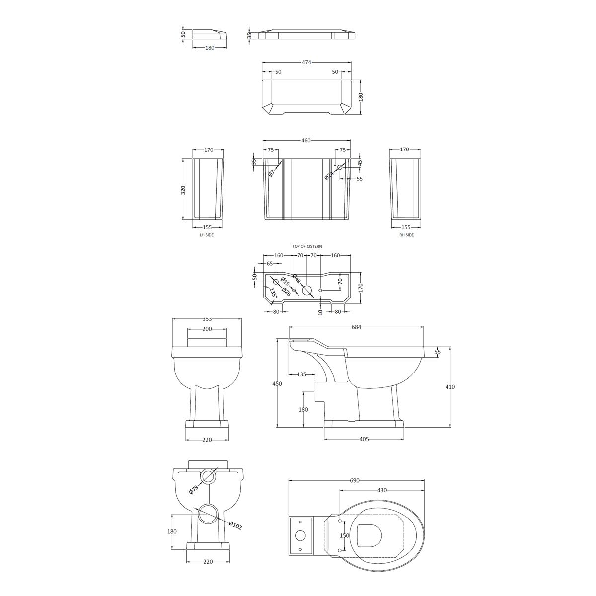 Hudson Reed Richmond Close Coupled Toilet Dimensions
