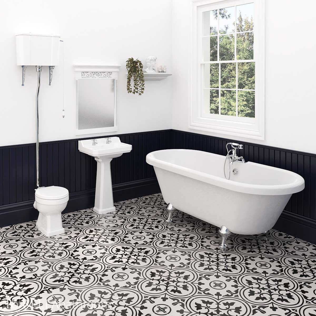 Hudson Reed Richmond High Level Traditional Bathroom Suite with Skipton Freestanding Bath
