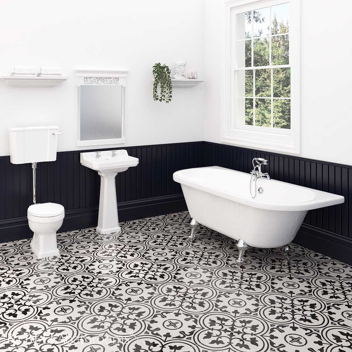 Hudson Reed Richmond Low Level Traditional Bathroom Suite with Kildwick Back To Wall Bath