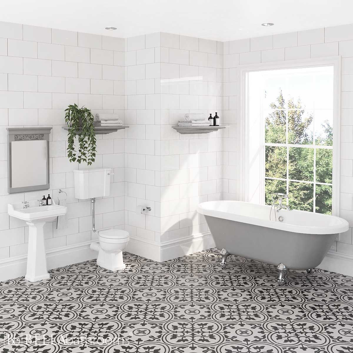 Hudson Reed Richmond Low Level Traditional Bathroom Suite with Skipton Dove Grey Freestanding Bath
