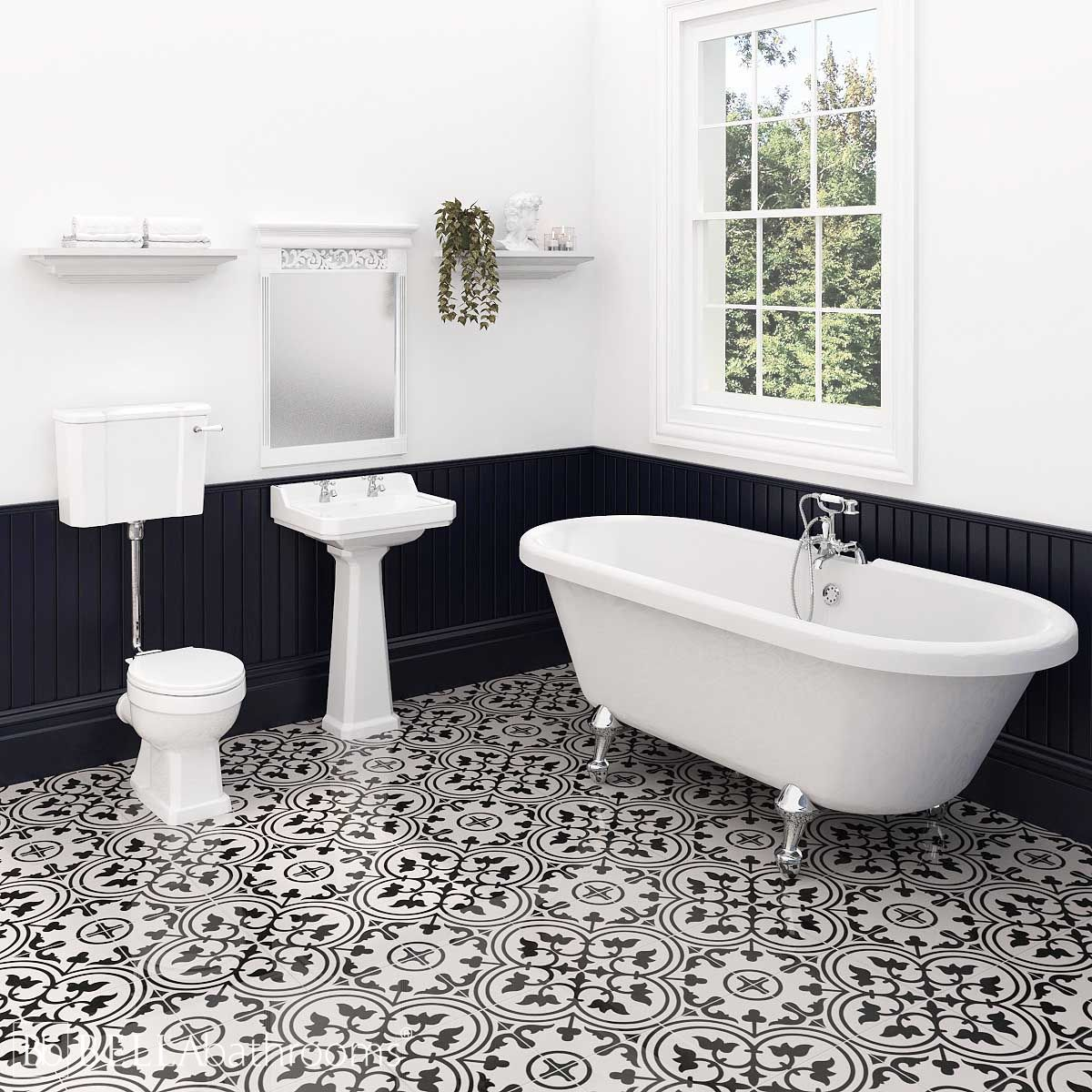Hudson Reed Richmond Low Level Traditional Bathroom Suite with Skipton Freestanding Bath