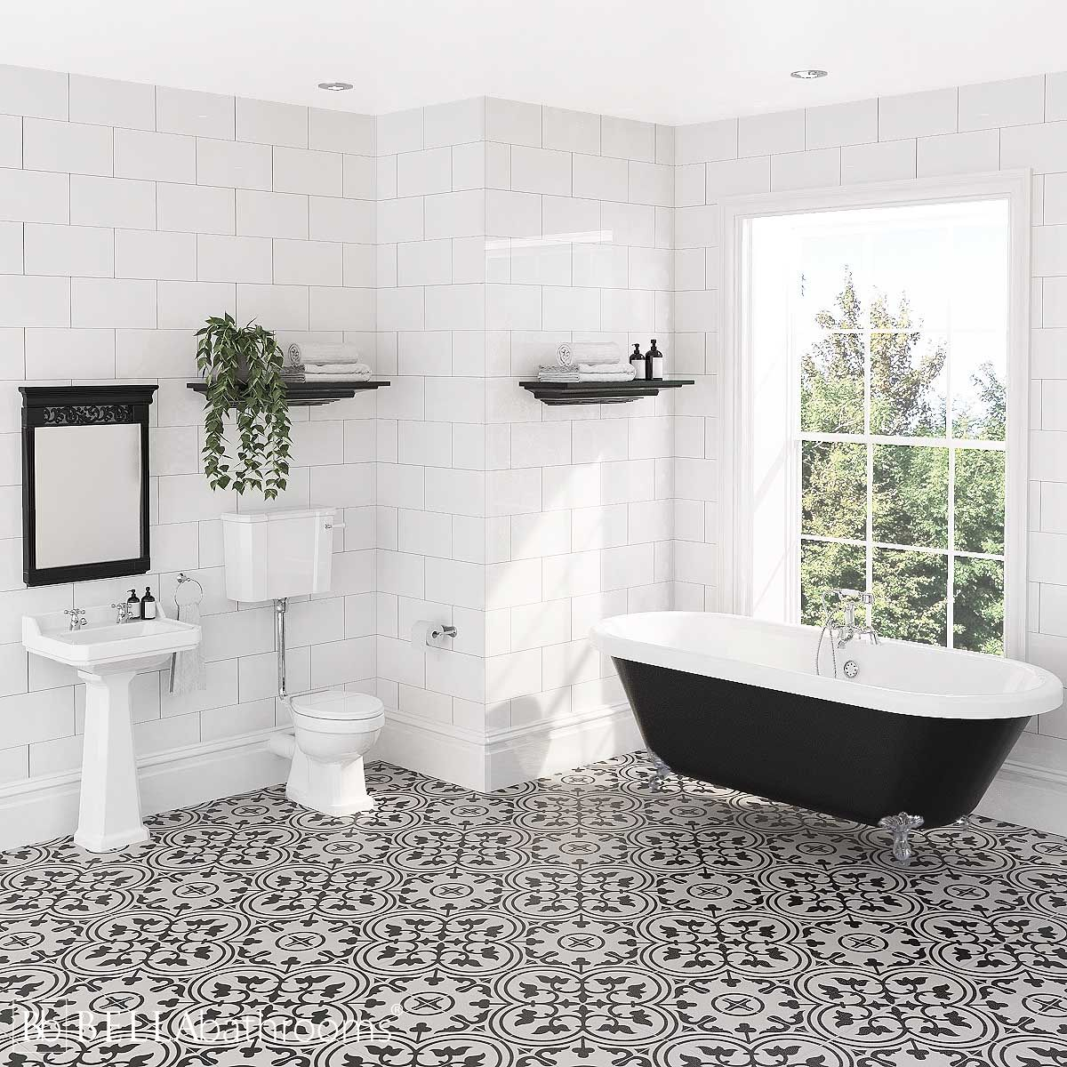 Hudson Reed Richmond Low Level Traditional Bathroom Suite with Freestanding Bath