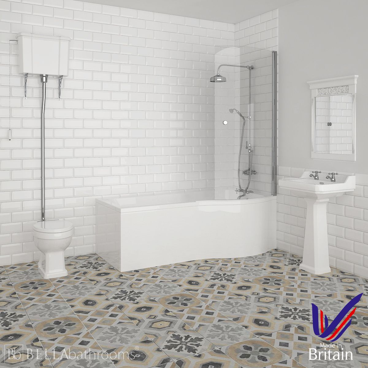 Hudson Reed Richmond Right Handed P Shape High Level Shower Bath Suite