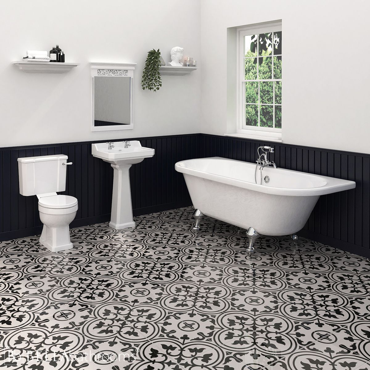 Hudson Reed Richmond Traditional Bathroom Suite with Back To Wall Bath