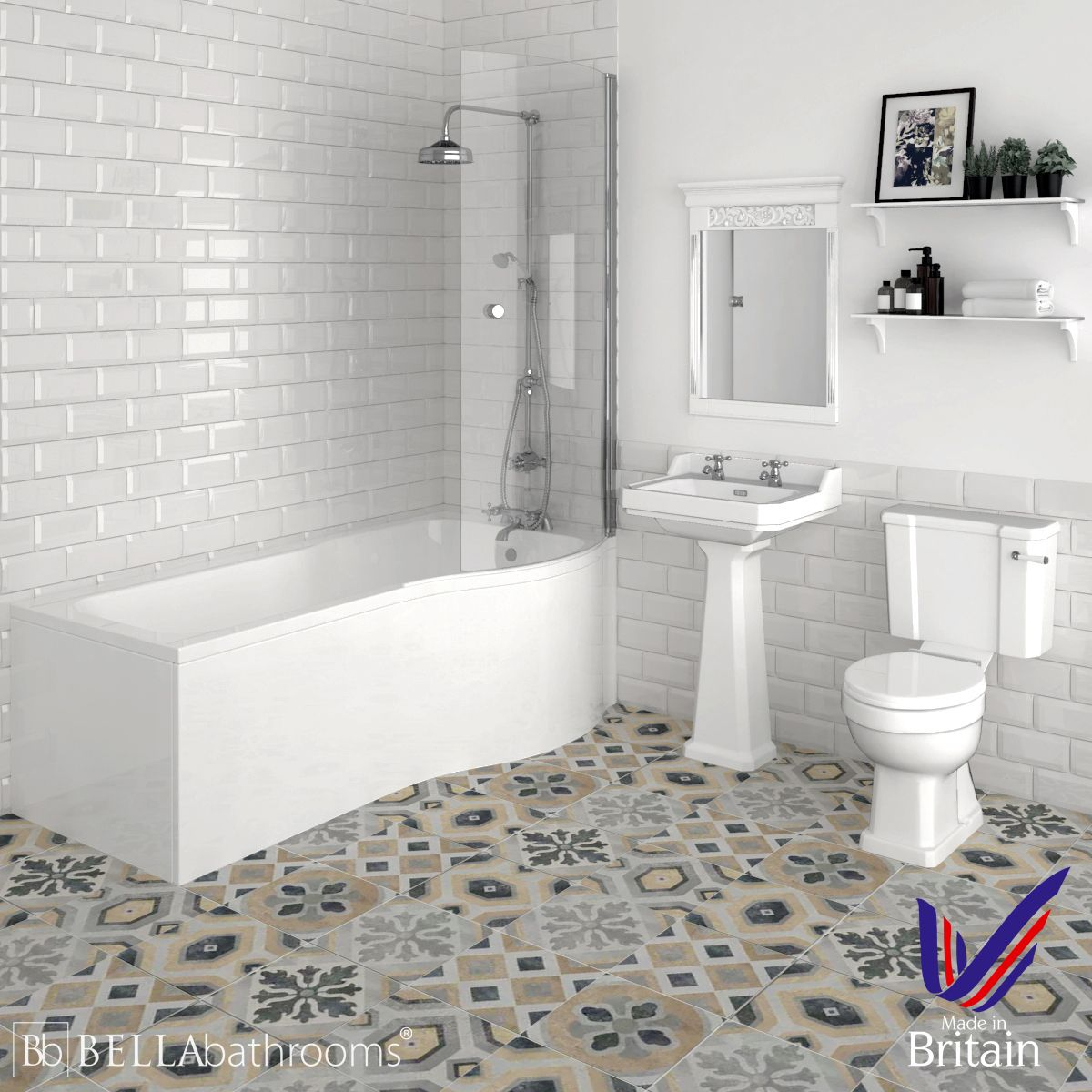 Hudson Reed Richmond Traditional Right Handed P Shape Shower Bath Suite