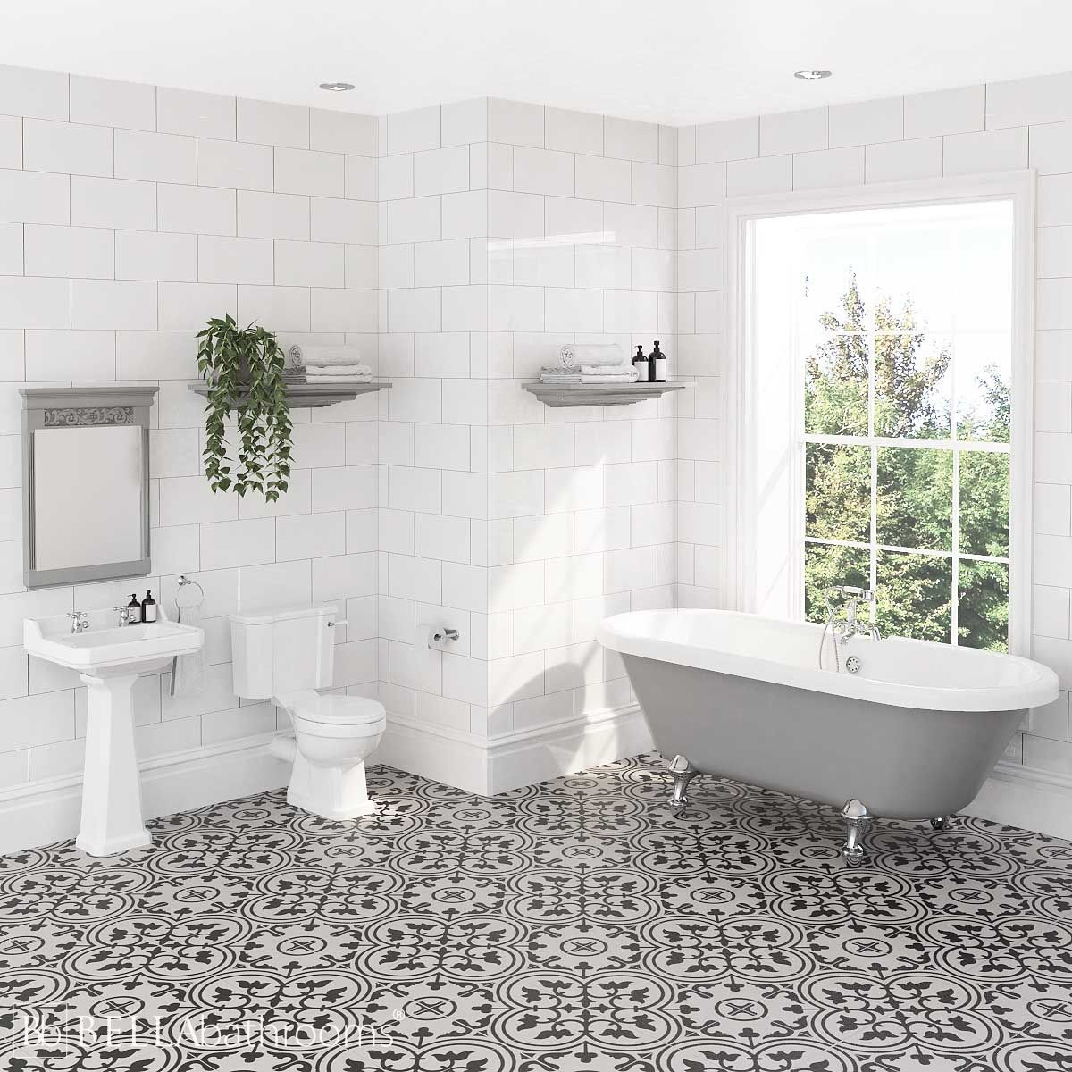 Hudson Reed Richmond Traditional Bathroom Suite with Skipton Dove Grey Freestanding Bath