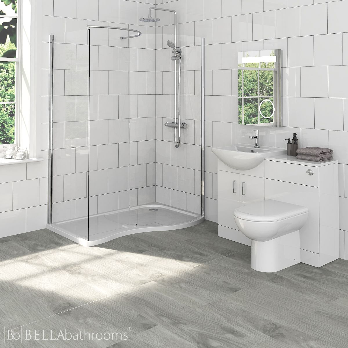 Madison Bathroom Furniture Pack with Pacific Walk-In Shower Enclosure