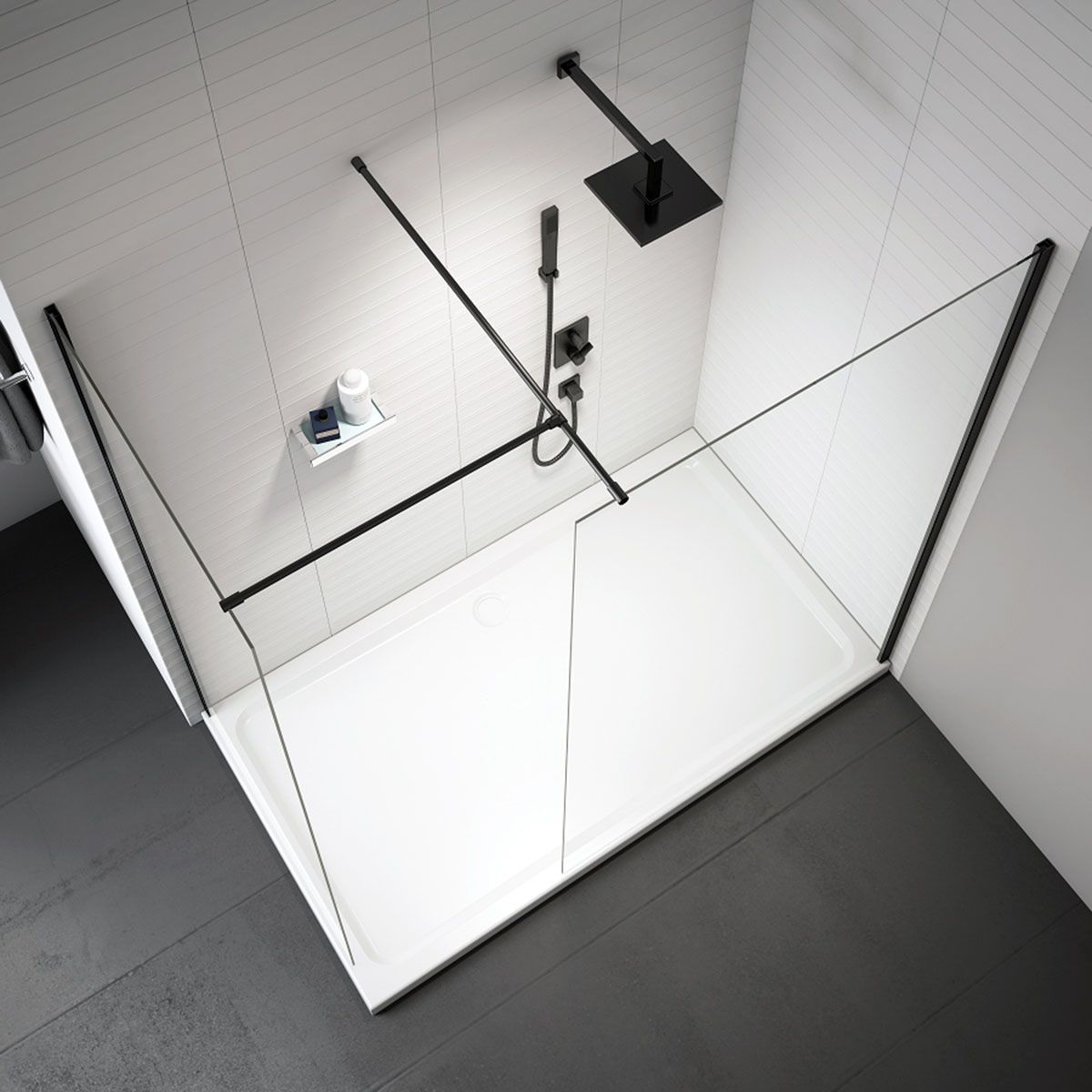 Merlyn Black Frame Shower Screen Overhead View