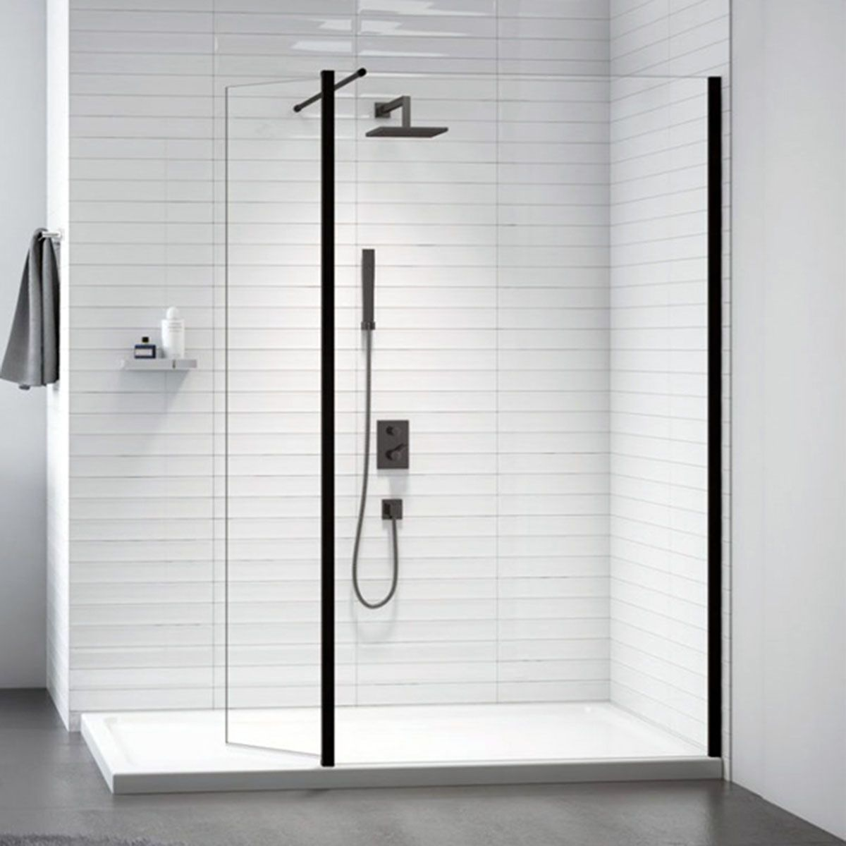 Merlyn Black Frame Shower Screen with Swivel Panel