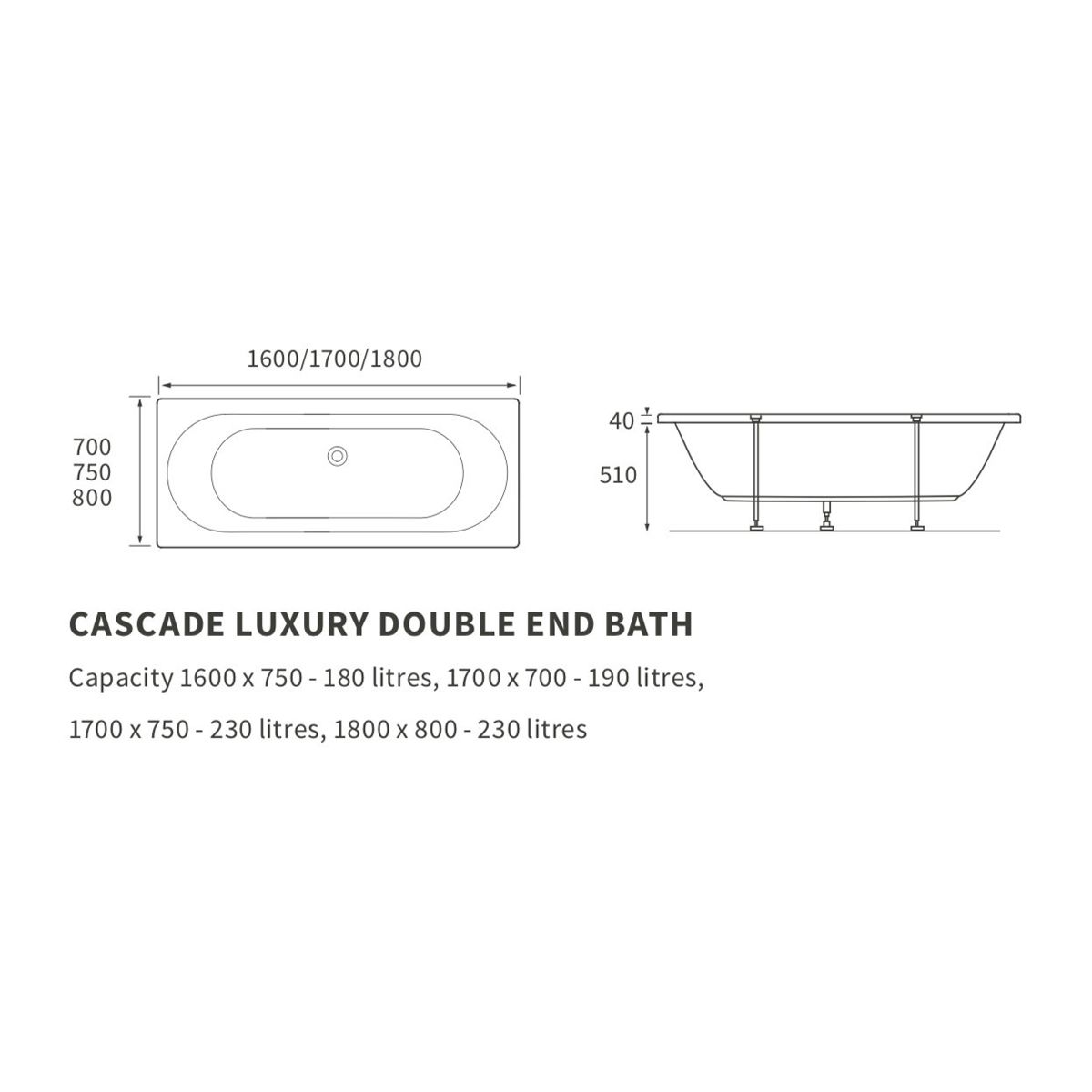 Moods Cascade Supercast Double Ended Whirlpool Bath 1800mm Dimensions