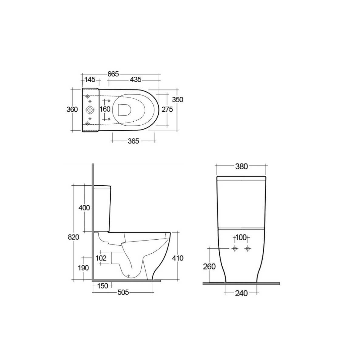 RAK Moon Rimless Back To Wall Toilet with Soft Close Seat Measurements