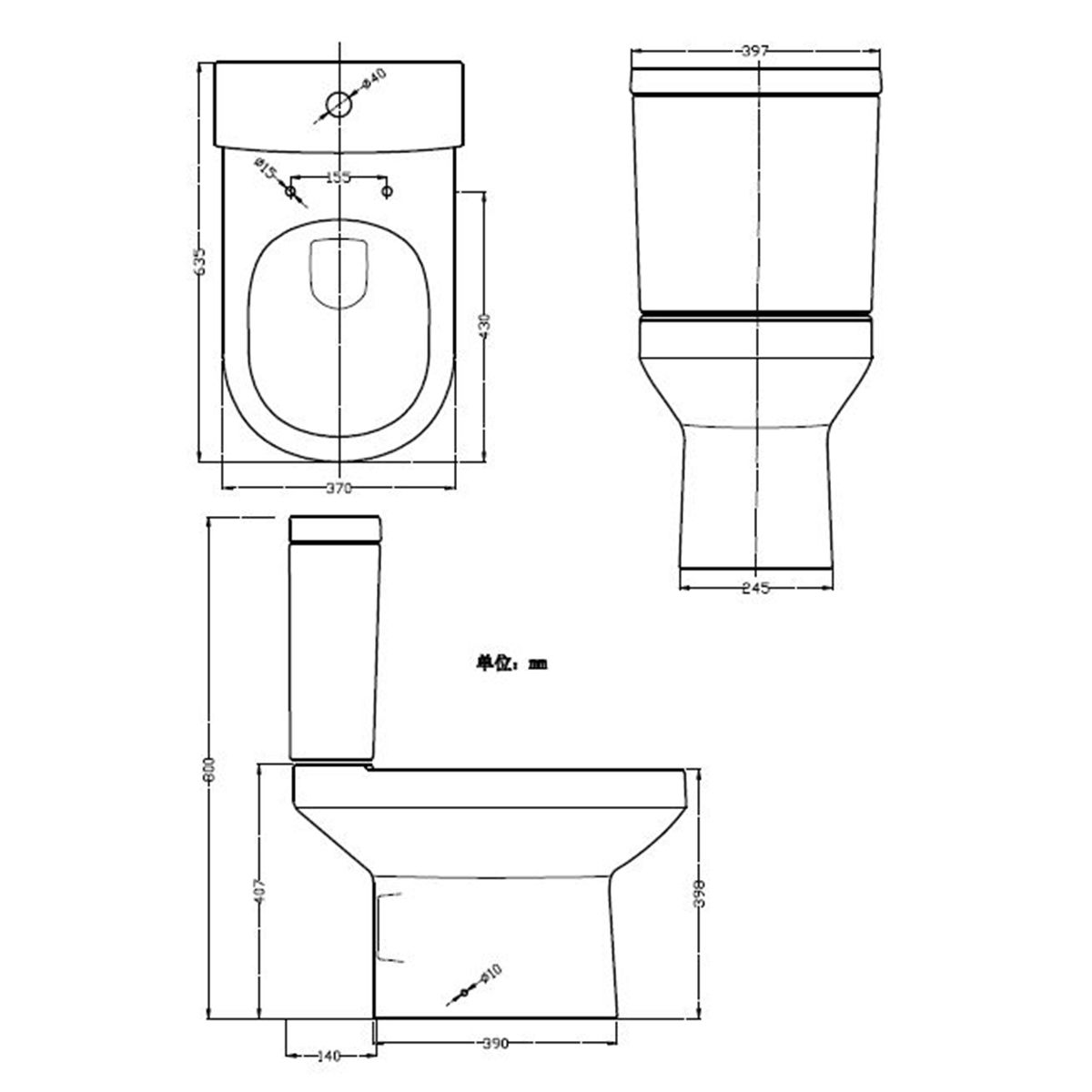 Nuie Harmony Close Coupled Pan w/ Cistern and Soft Close Seat Dimensions