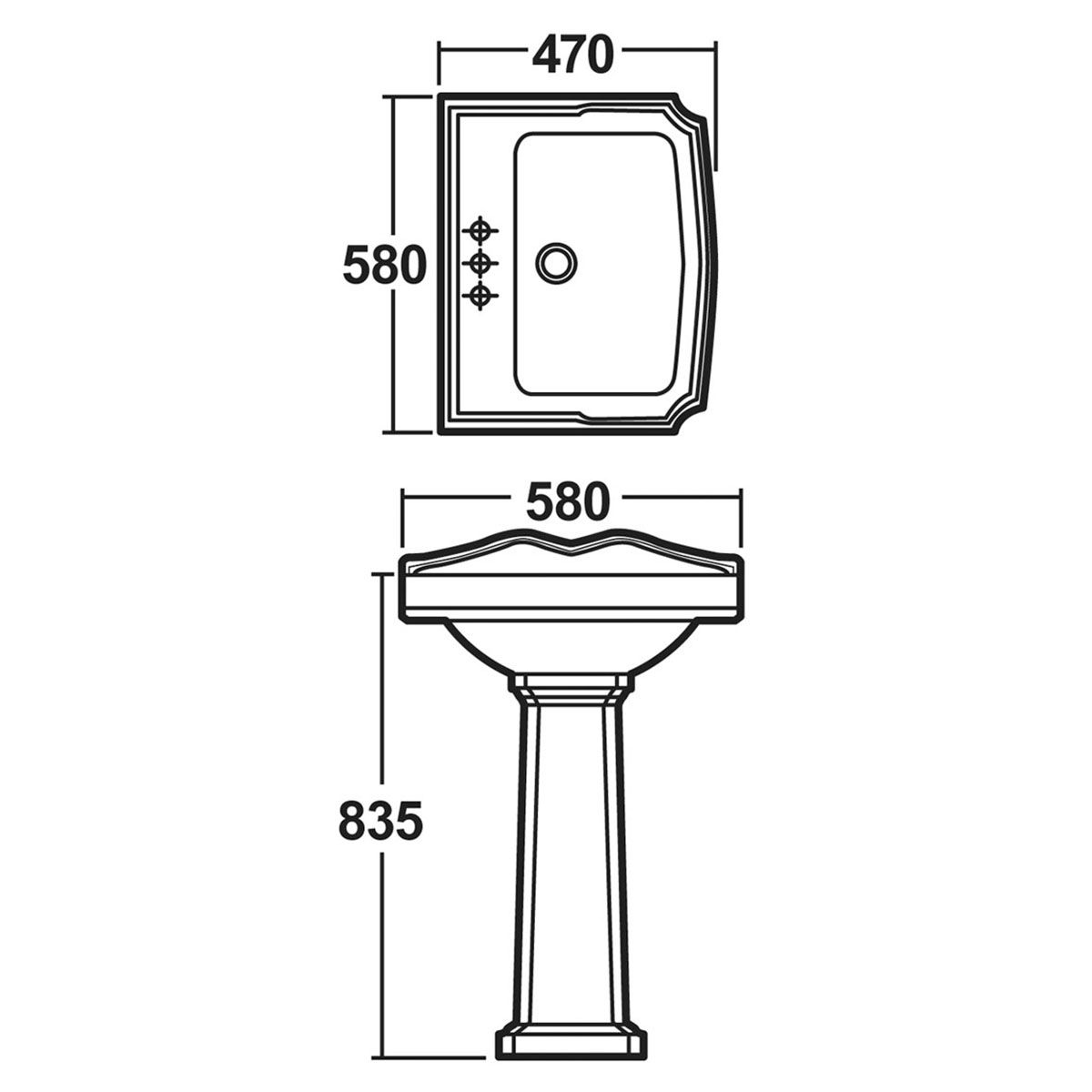 Premier Legend 2 Tap Hole Basin with Full Pedestal Dimensions