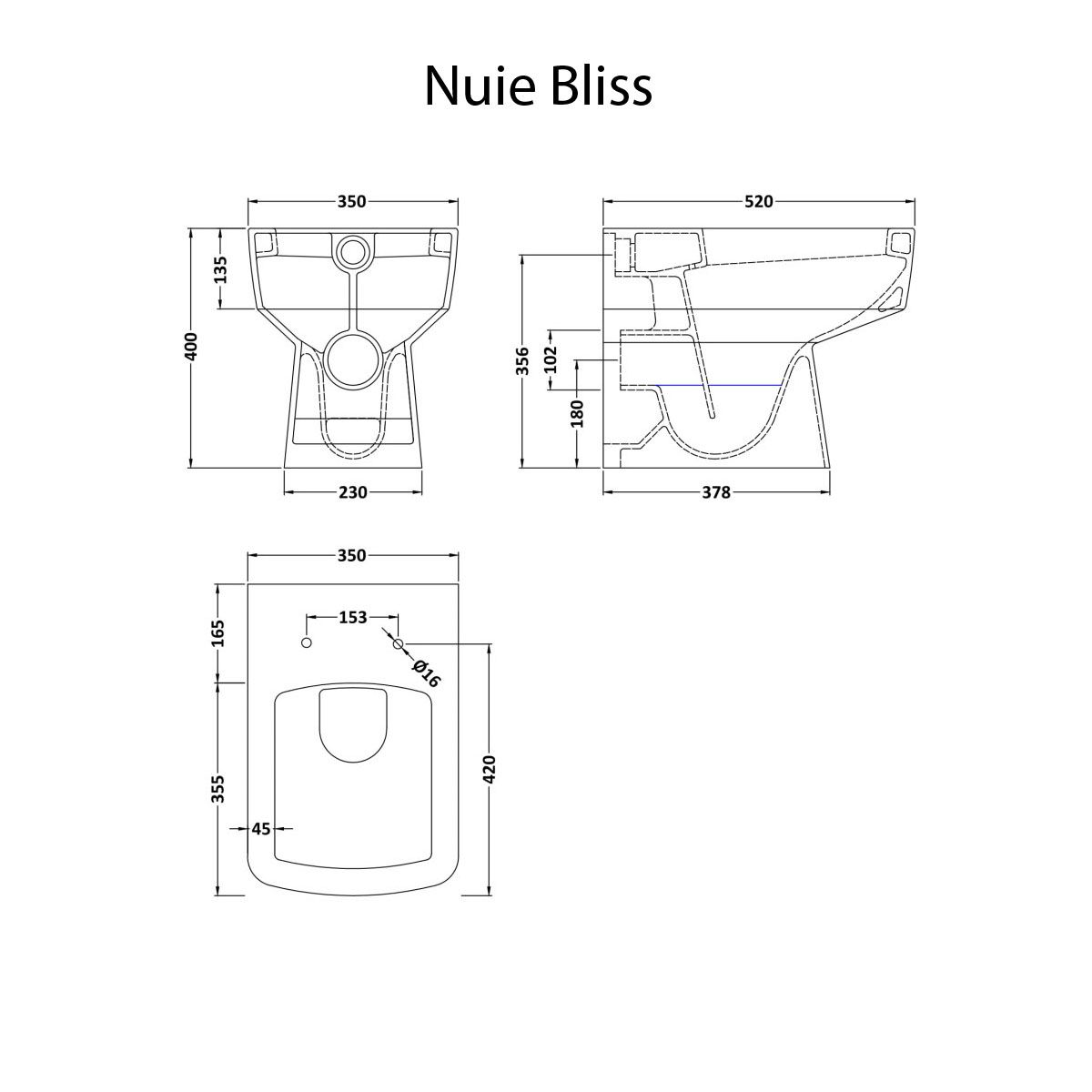 Nuie Bliss back to wall toilet dimension