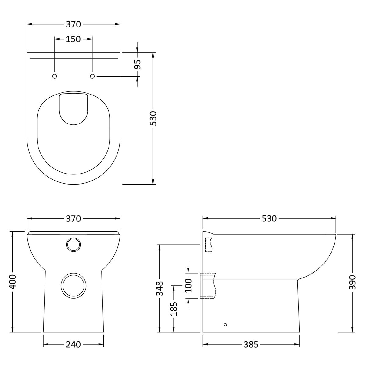 Nuie Back To Wall Toilet Dimensions