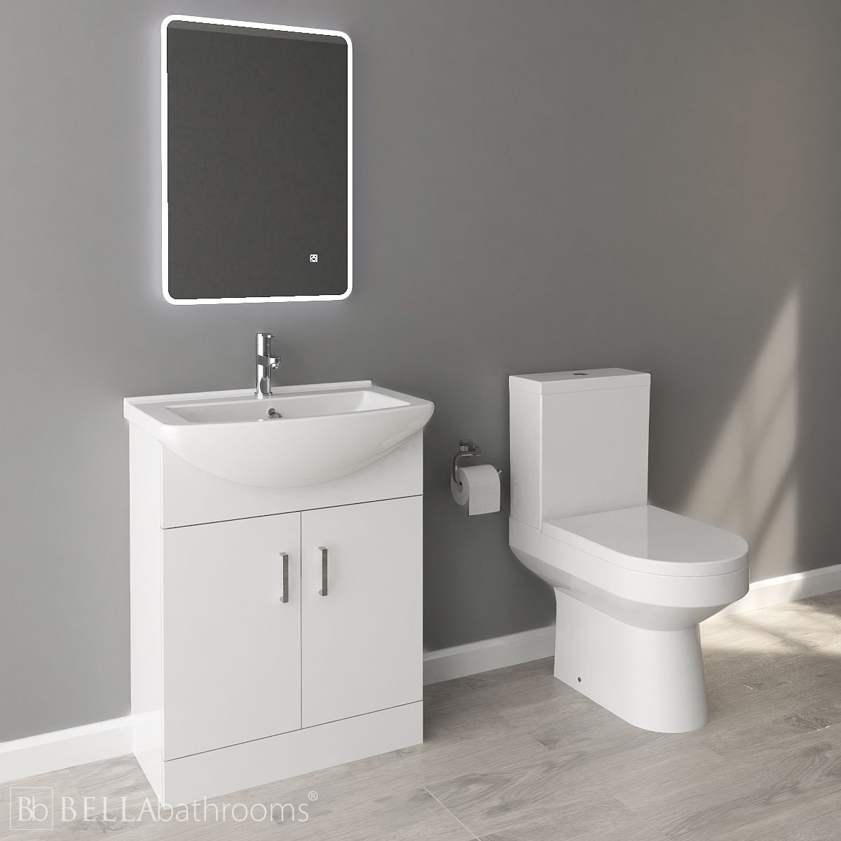 Nuie Deluxe High Gloss White Vanity Unit and Toilet Set 650mm