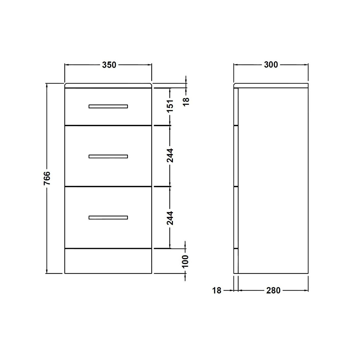 Nuie High Gloss White 3 Drawer Unit 350 x 300mm Dimensions