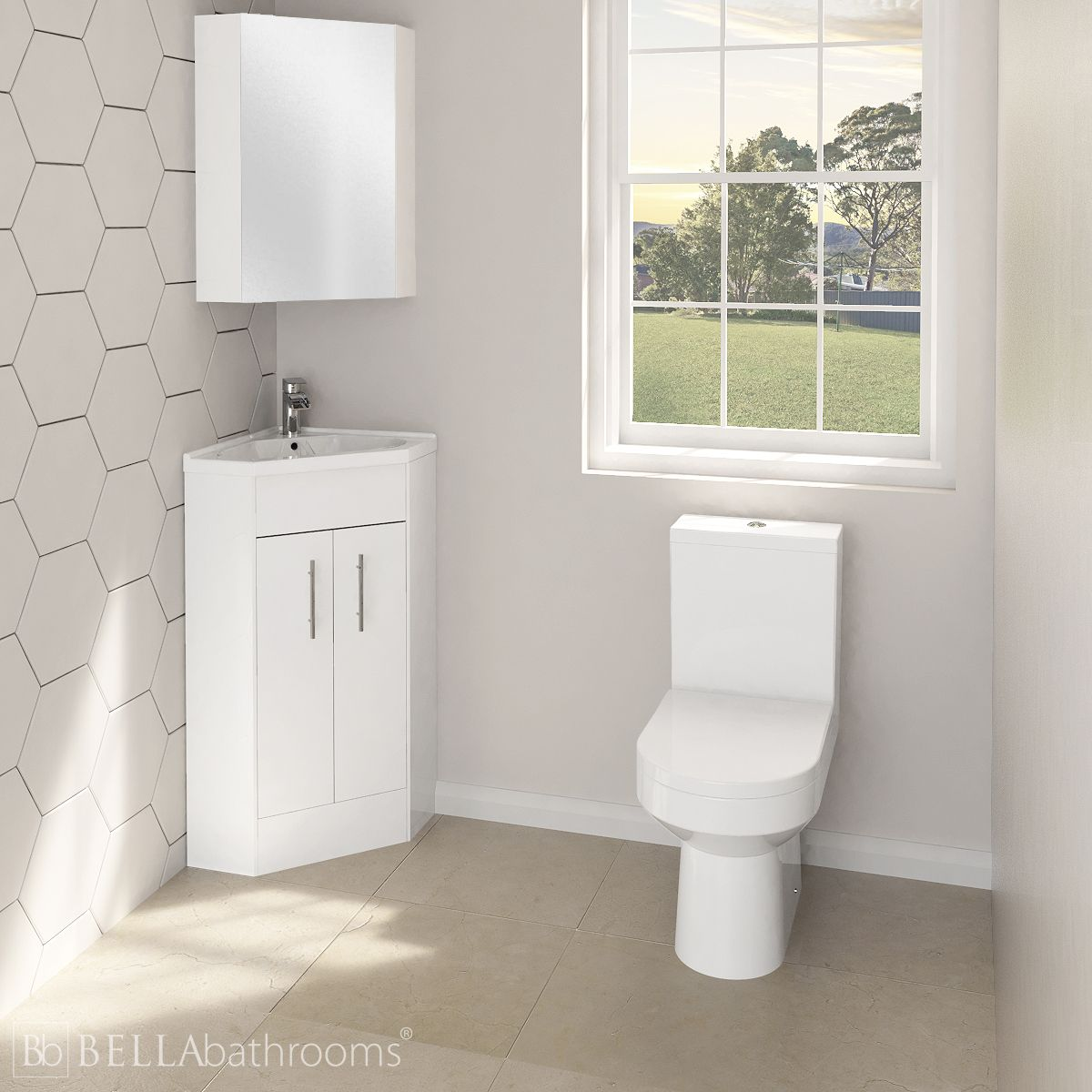 Nuie High Gloss White Corner Vanity Unit And Toilet Set