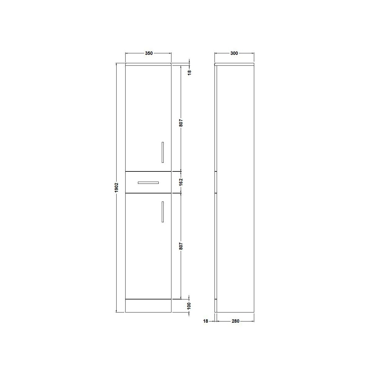 Nuie High Gloss White Tallboy Unit 350 x 300mm Dimensions