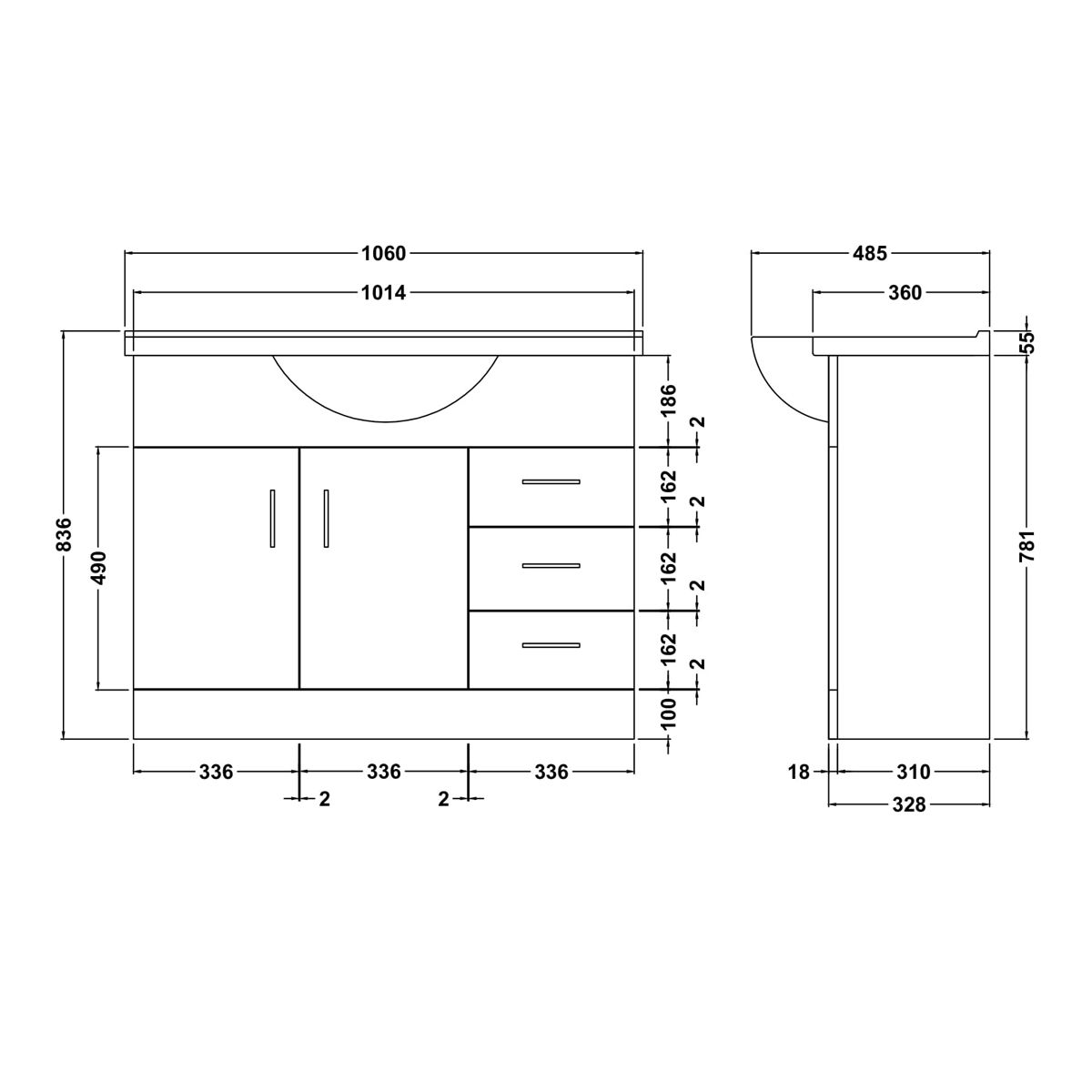 Nuie High Gloss White Vanity Unit 1050mm Dimensions