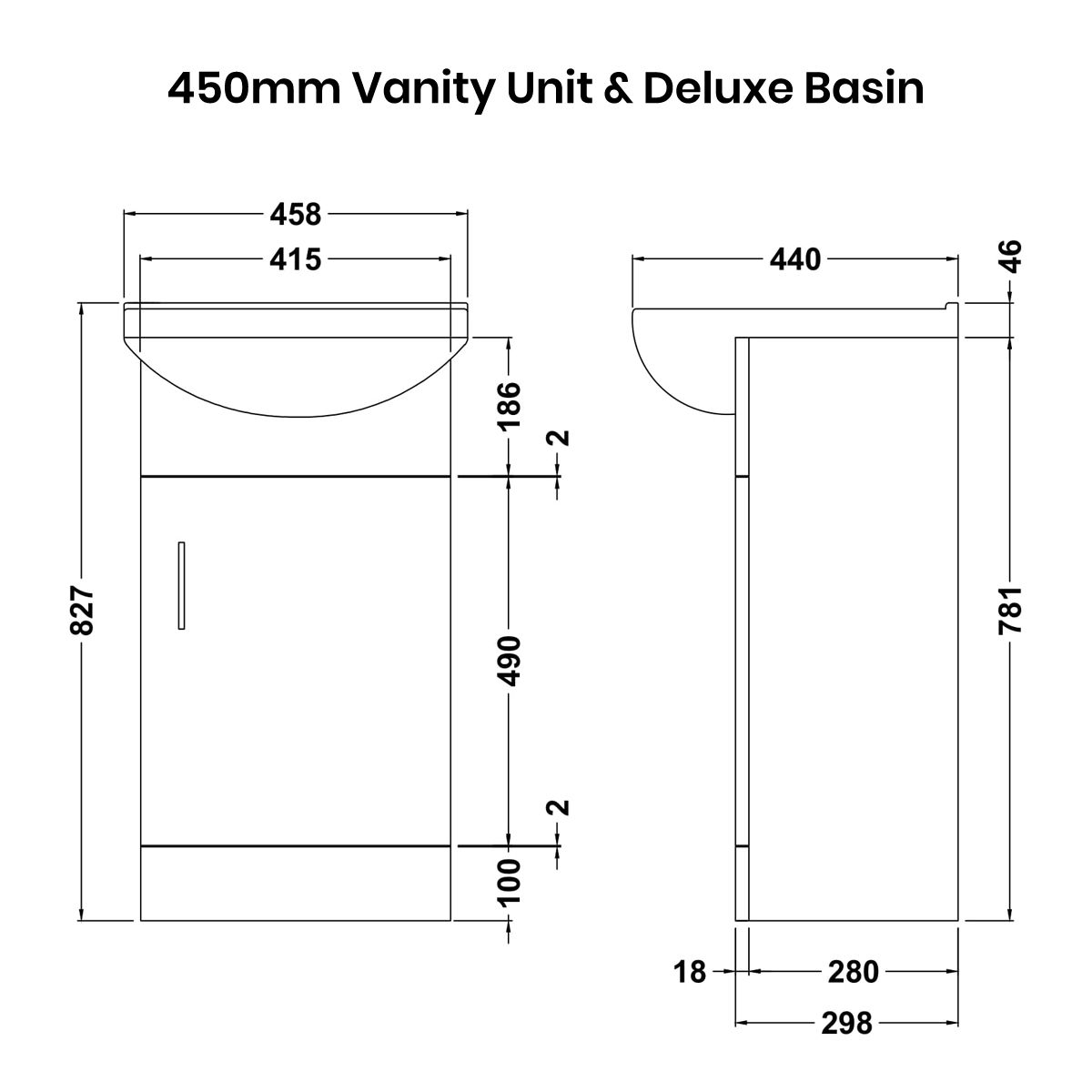 Nuie High Gloss White Vanity Unit 450mm Deluxe Basin Dimensions