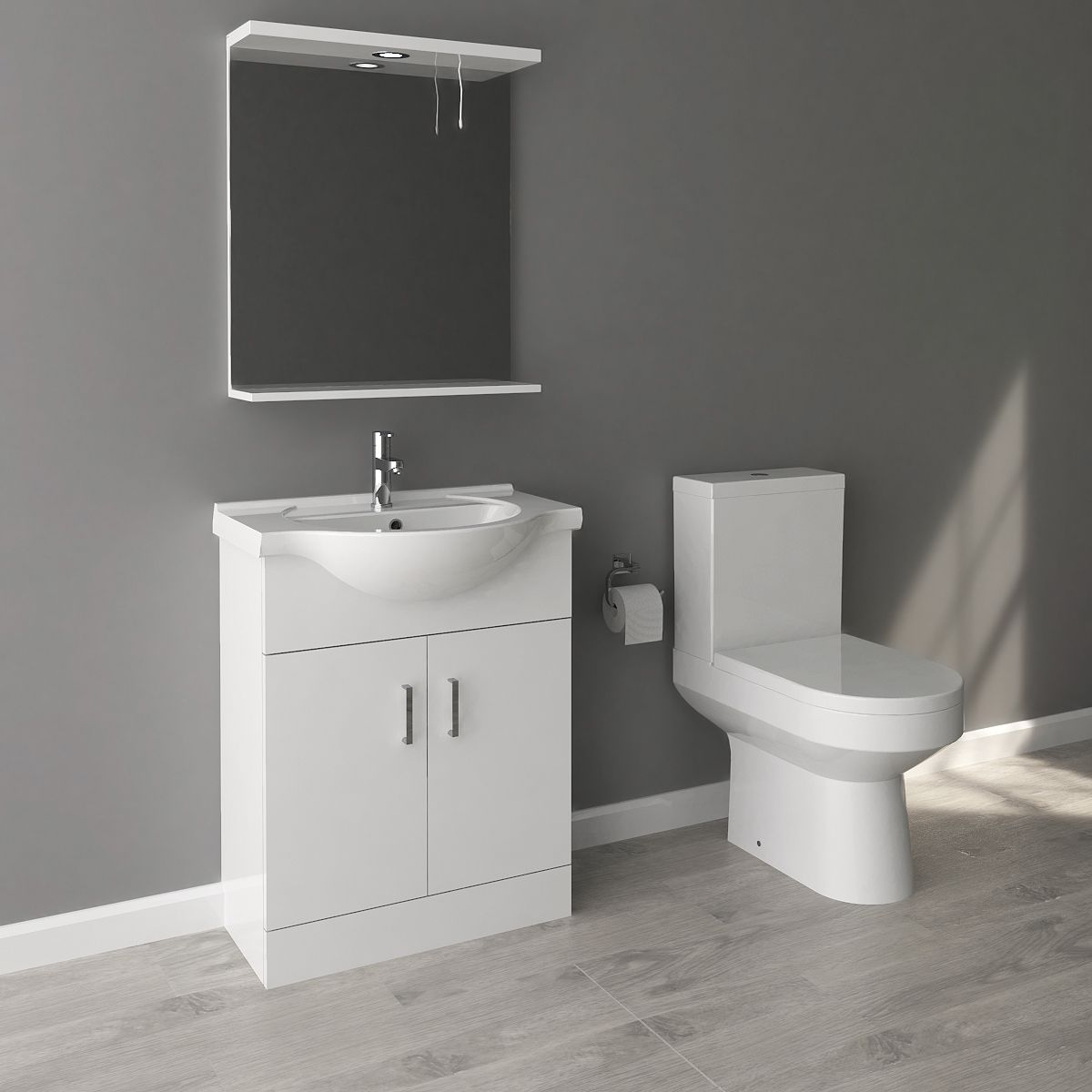 Nuie High Gloss White Vanity Unit and Toilet Set 650mm