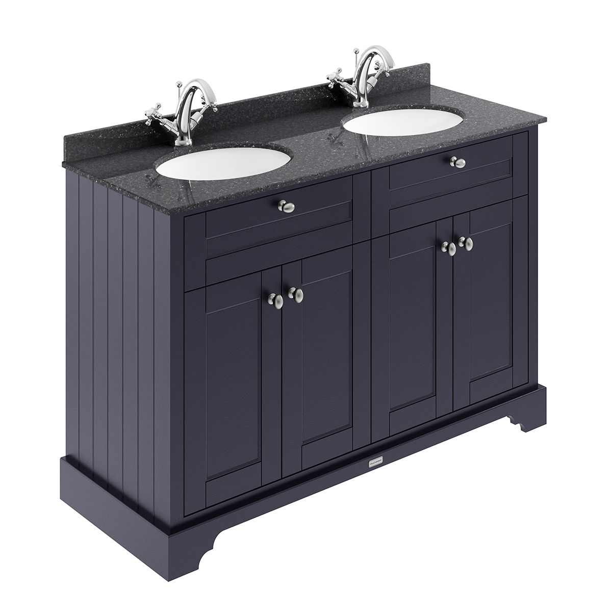Old London Twilight Blue Vanity Unit With Black Marble Top 1200mm