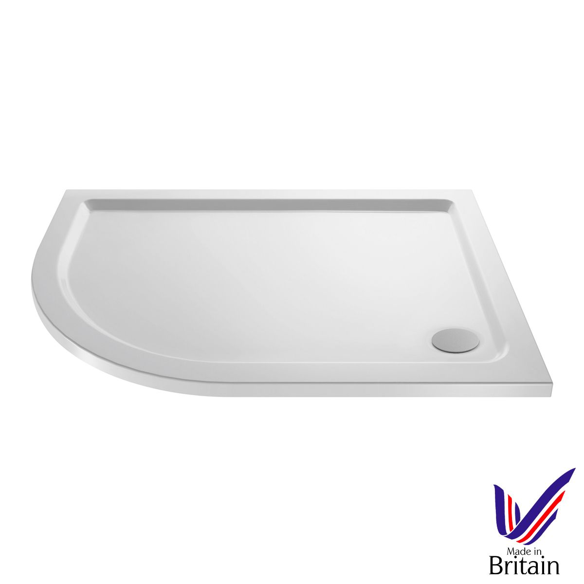 1000 x 800 Shower Tray Offset Quadrant Low Profile Left Hand by Pearlstone