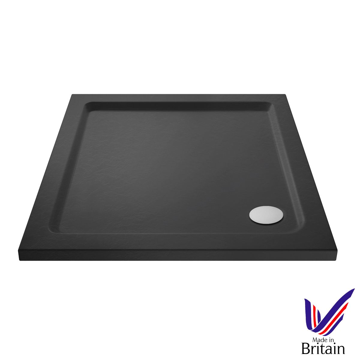 760 x 760 Shower Tray Slate Grey Square Low Profile by Pearlstone