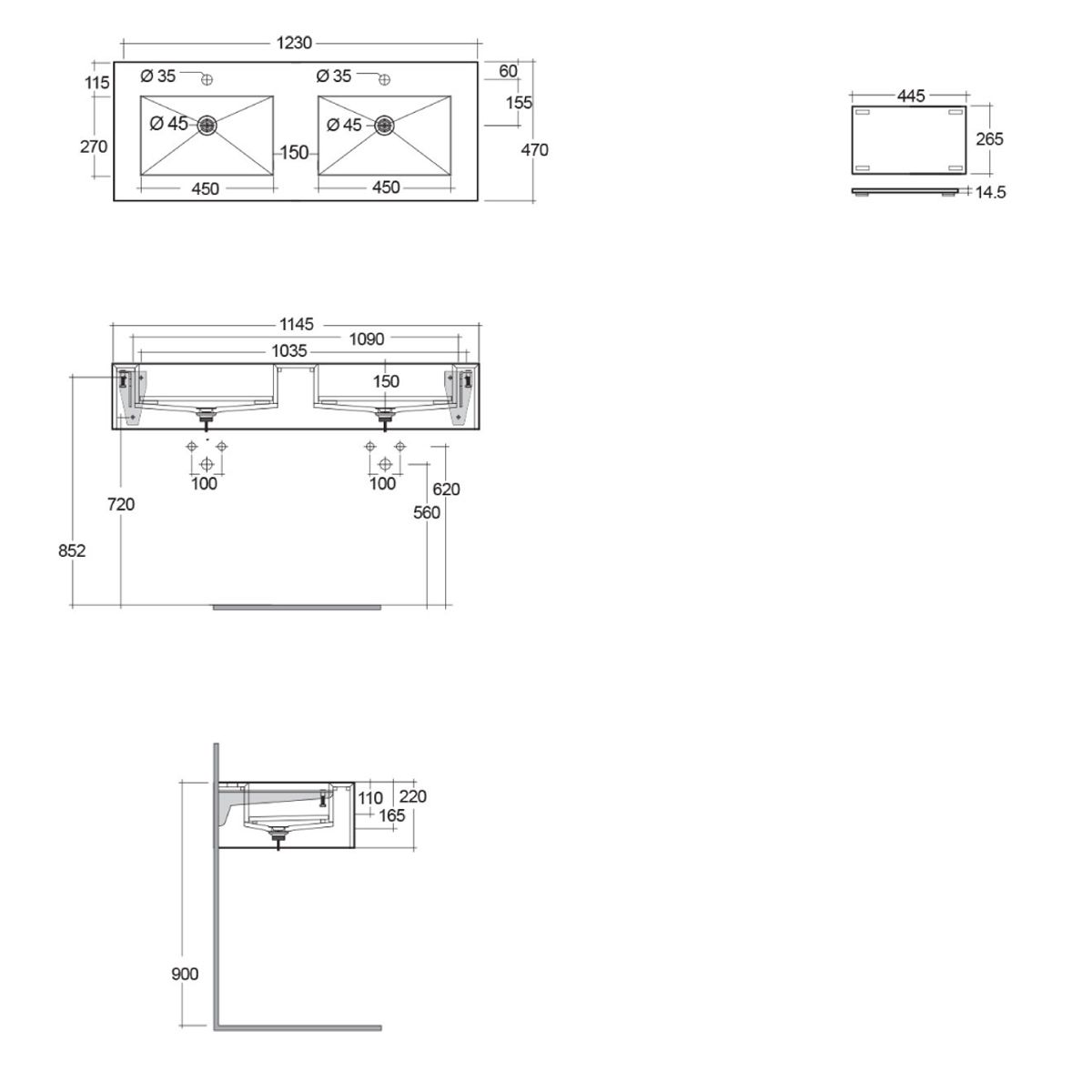 RAK Precious Behind Grey Wall Hung Counter Basin 1200mm with Brackets Measurements
