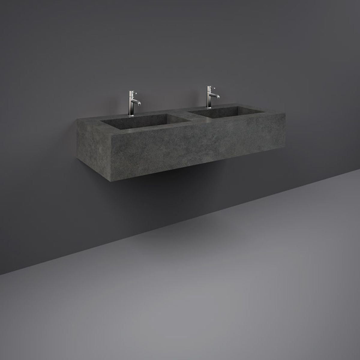 RAK Precious Behind Grey Wall Hung Counter Basin 1200mm with Brackets