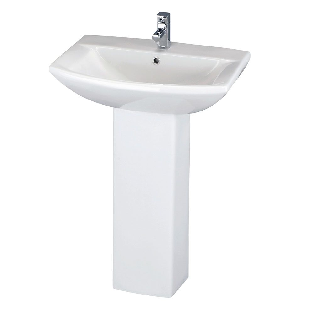 Premier Asselby 1 Tap Hole Basin with Full Pedestal 600mm