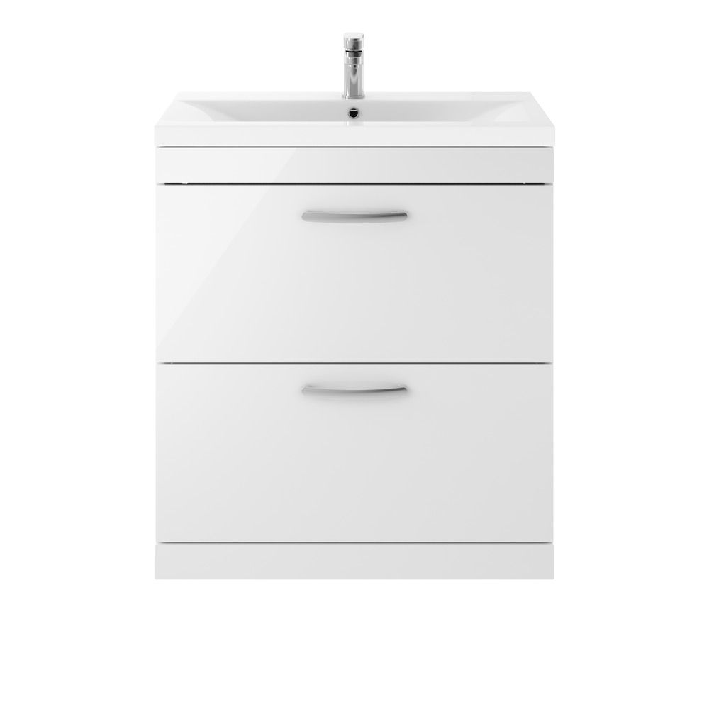 Premier Athena Gloss White 2 Drawer Floor Standing Vanity Unit 800mm