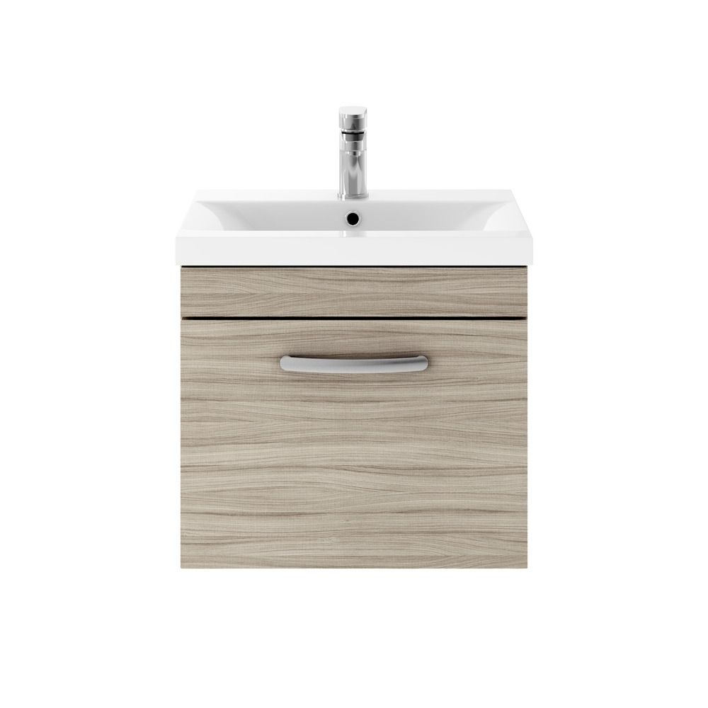 Premier Athena Driftwood 1 Drawer Wall Hung Vanity Unit 500mm with Mid Edge Basin