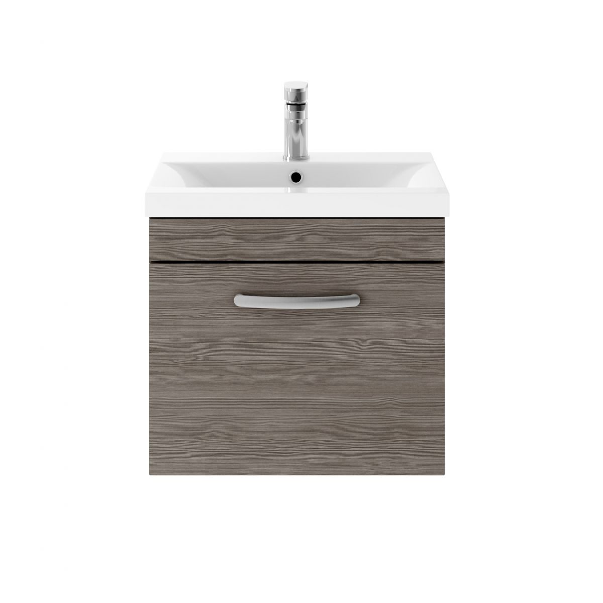 Nuie Athena Grey Avola 1 Drawer Wall Hung Vanity Unit 500mm