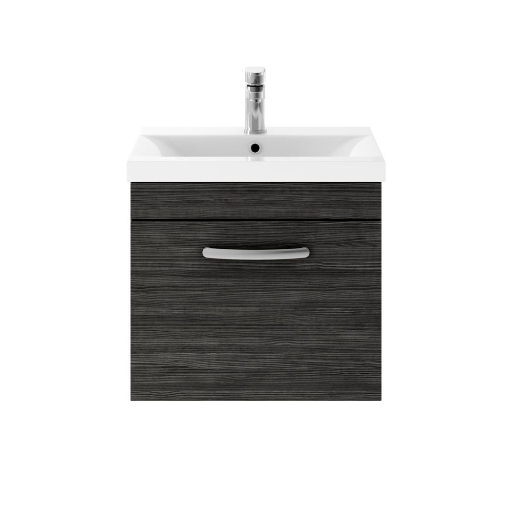 Premier Athena Hacienda Black 1 Drawer Wall Hung Vanity Unit 500mm with Mid Edge Basin