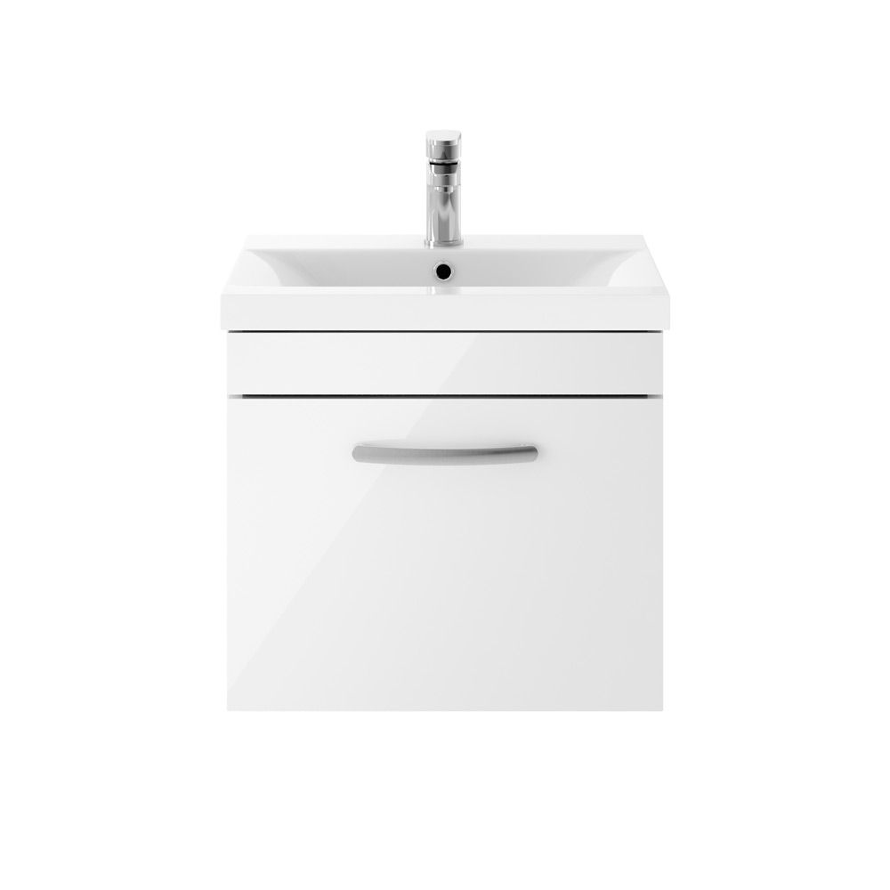 Premier Athena Gloss White 1 Drawer Wall Hung Vanity Unit 500mm with Mid Edge Basin