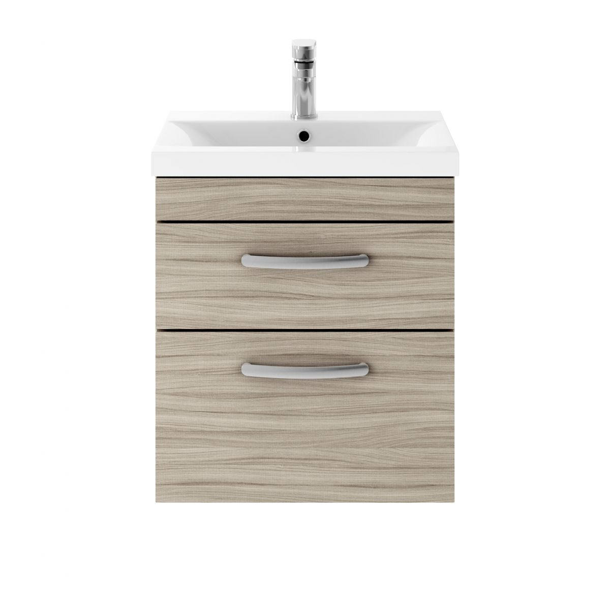 Premier Athena Driftwood 2 Drawer Wall Hung Vanity Unit 500mm with Mid Edge Basin