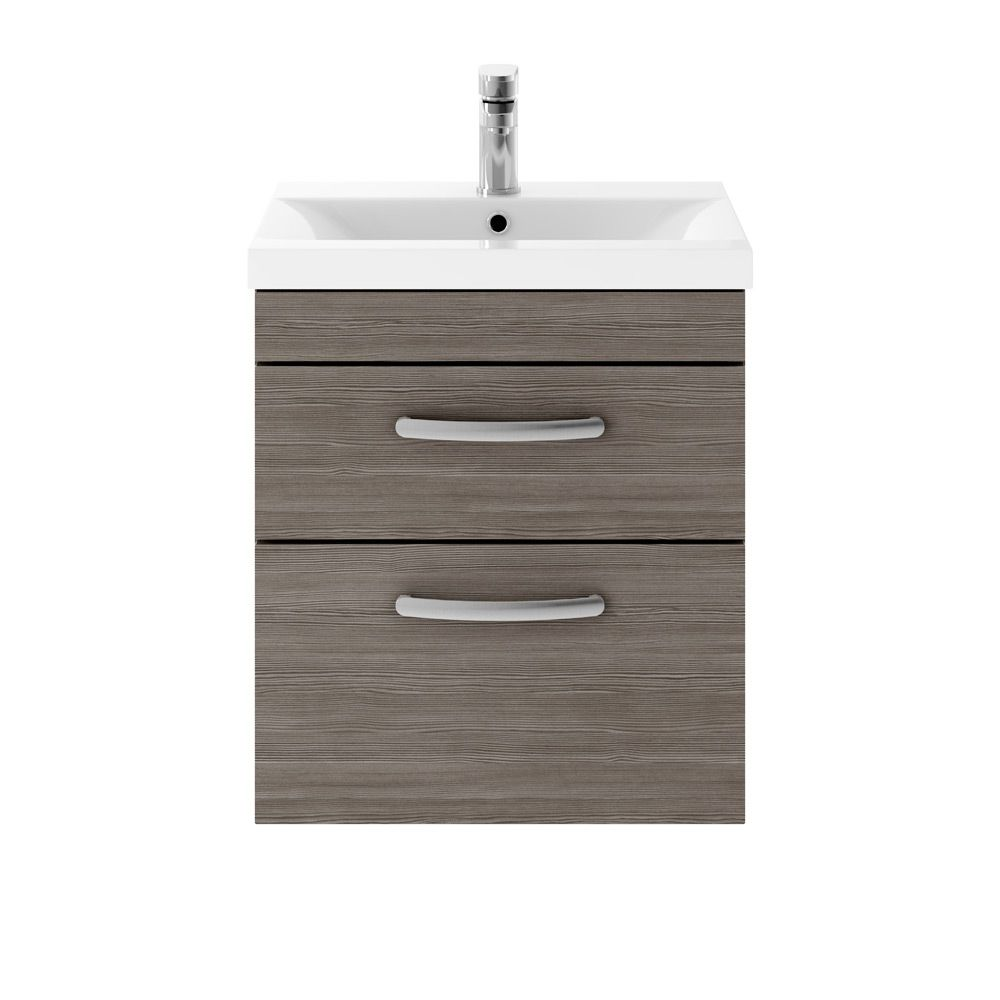 Premier Athena Grey Avola 2 Drawer Wall Hung Vanity Unit 500mm with Mid Edge Basin