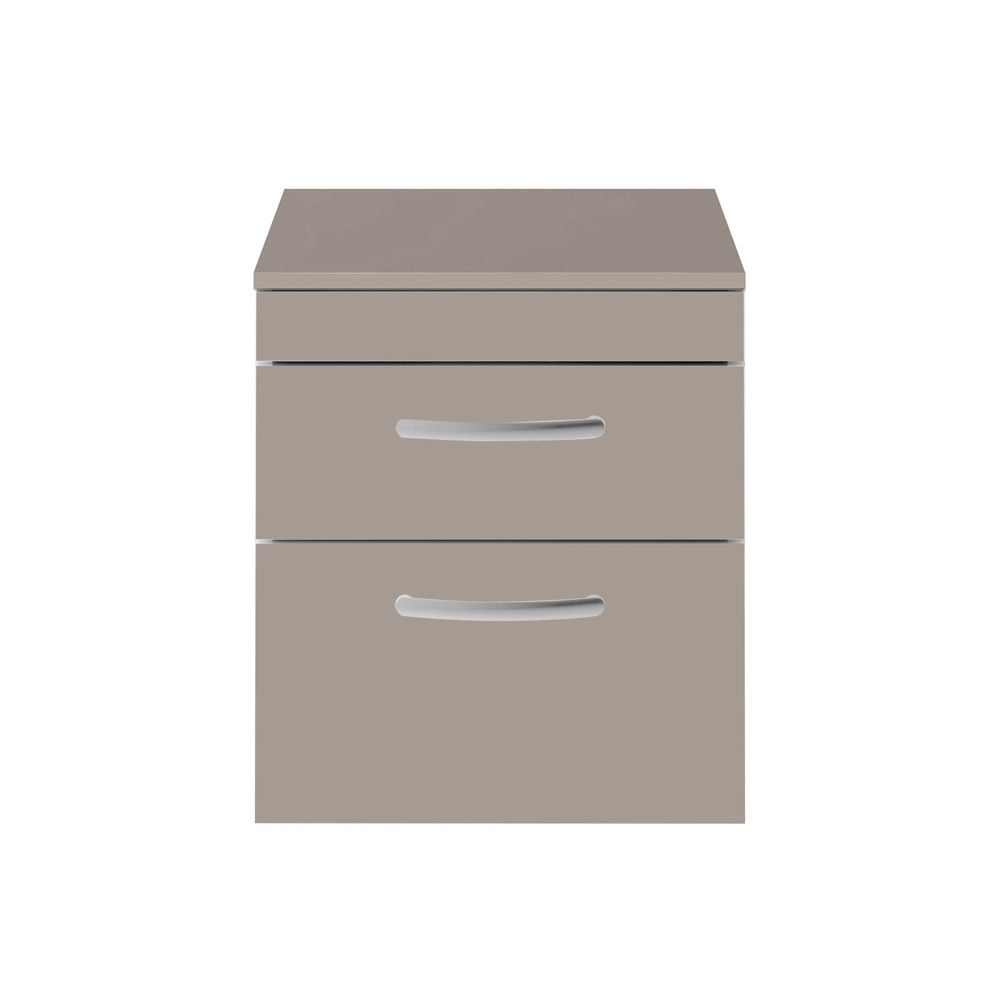 Premier Athena Stone Grey 2 Drawer Wall Hung Vanity Unit 500mm with Worktop