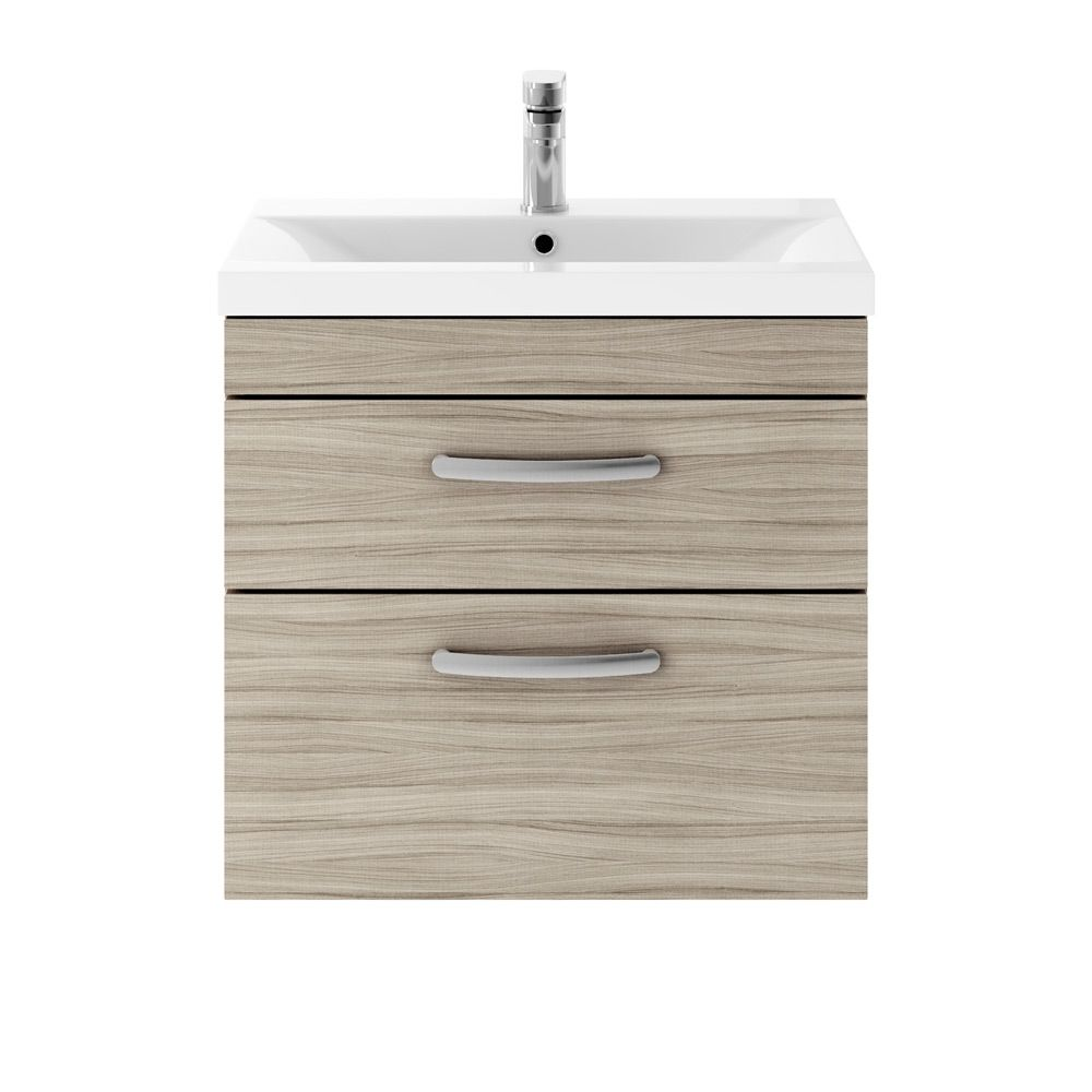 Premier Athena driftwood 2 Drawer Wall Hung Vanity Unit 600mm with Mid Edge Basin