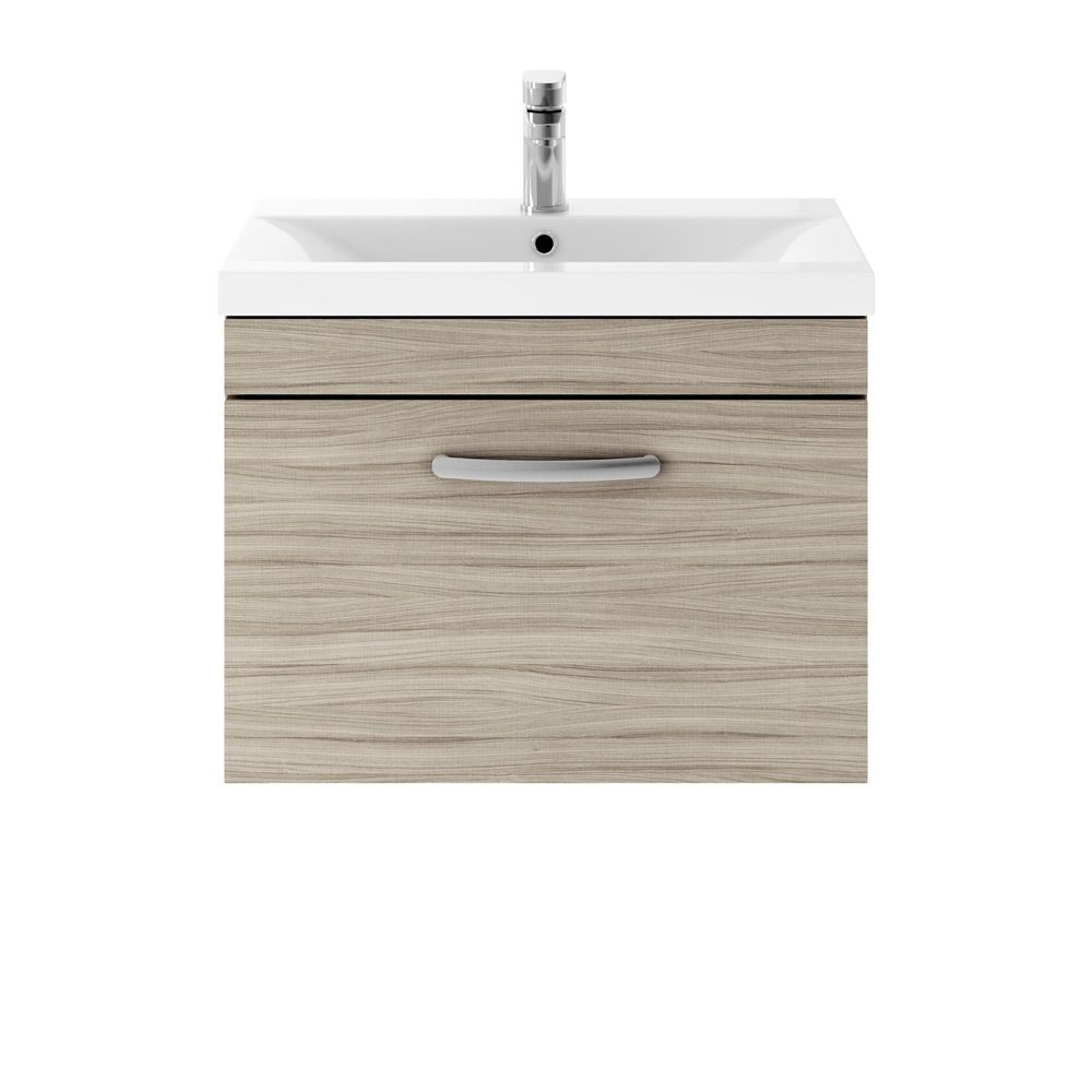 Premier Athena Driftwood 1 Drawer Wall Hung Vanity Unit 600mm with Mid Edge Basin