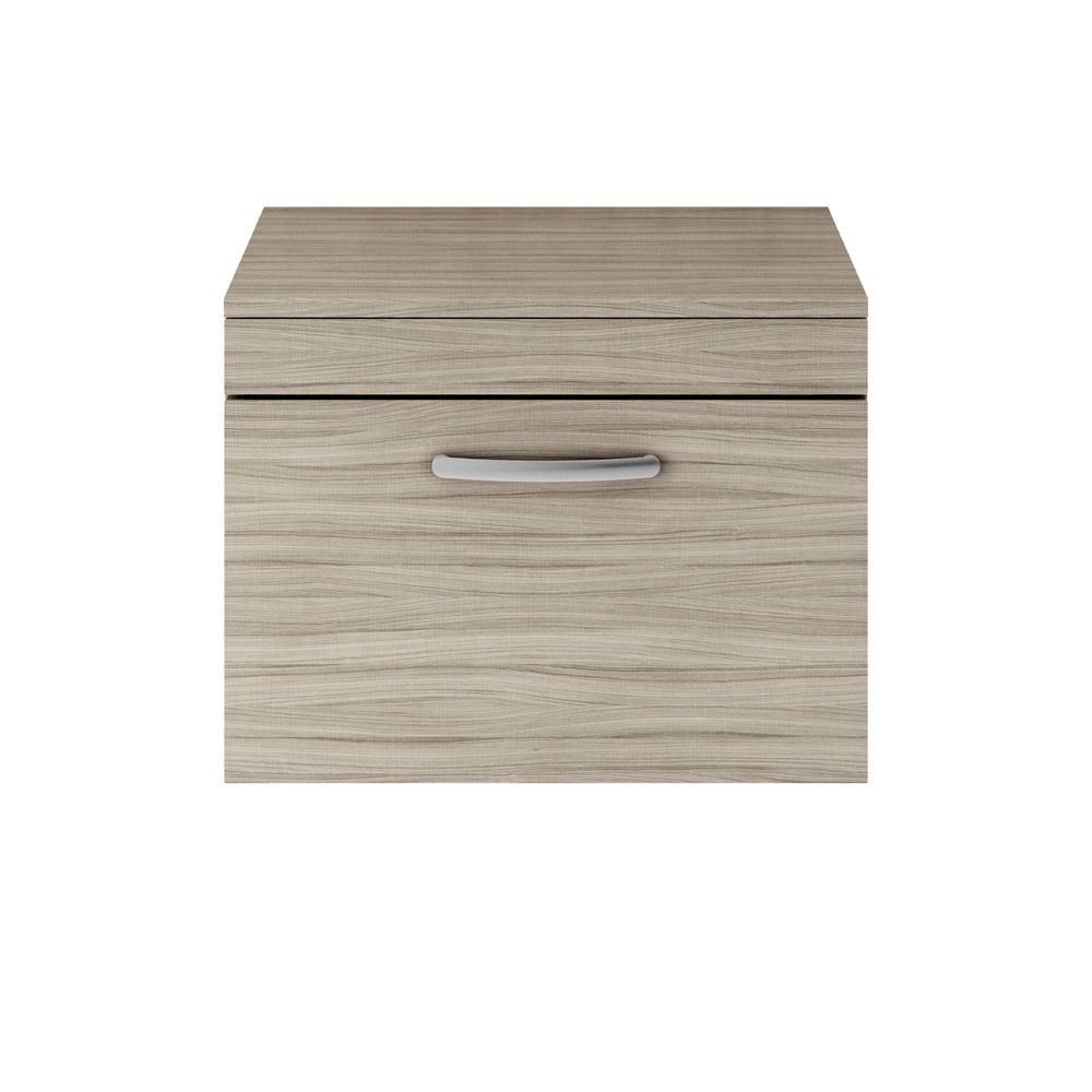 Premier Athena Driftwood 1 Drawer Wall Hung Vanity Unit 600mm with Worktop