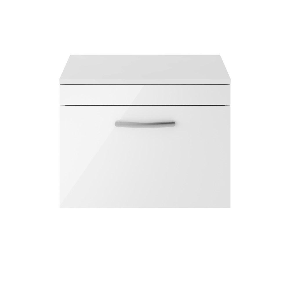 Premier Athena Gloss White 1 Drawer Wall Hung Vanity Unit 600mm with Worktop