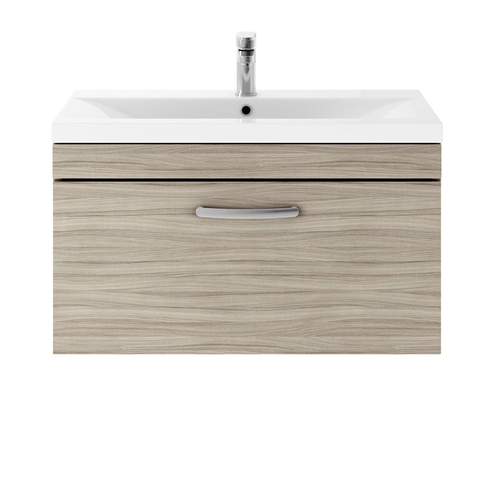 Premier Athena Driftwood 1 Drawer Wall Hung Vanity Unit 800mm with Mid Edge Basin