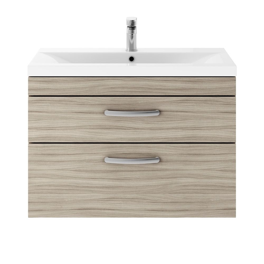Premier Athena Driftwood 2 Drawer Wall Hung Vanity Unit 800mm with Mid Edge Basin