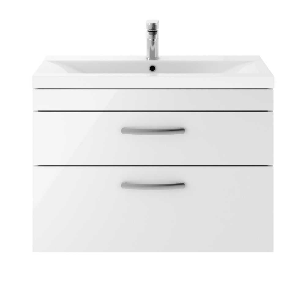 Premier Athena Gloss White 2 Drawer Wall Hung Vanity Unit 800mm with Mid Edge Basin